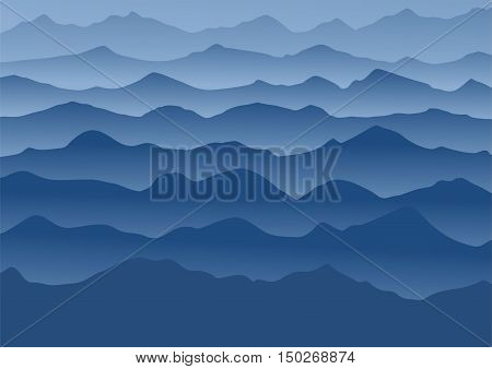 Blue mountains running in the fog. Vector illustration.