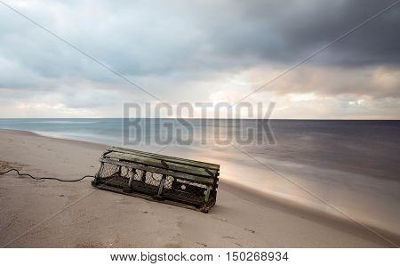 Lobster trap on beach in prince edward island