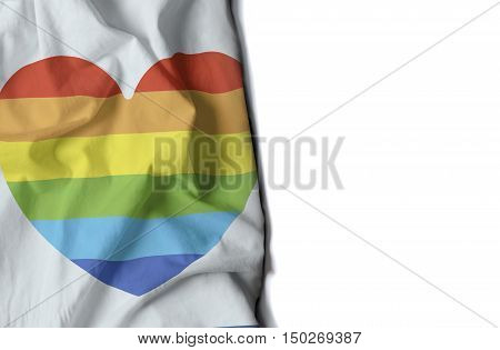 Gay Heart Wrinkled Flag, Space For Text
