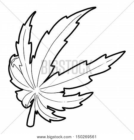 Marijuana leaf icon in outline style on a white background vector illustration