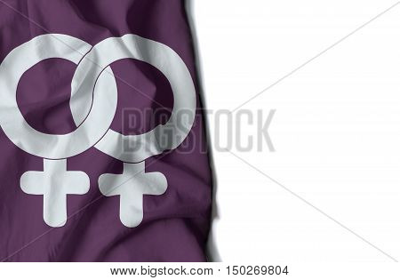 Woman Gay Symbol Wrinkled Flag, Space For Text