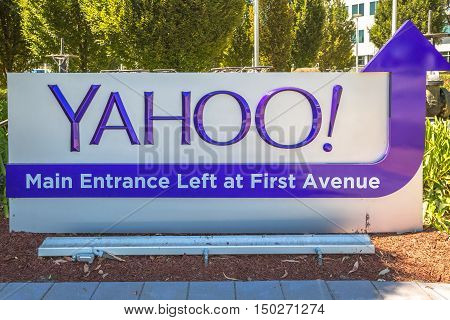Sunnyvale, California, United States - August 15, 2016: close up of Yahoo Main Entrace Left and First Avenue at Yahoo Headquarters located in Sunnyvale. Yahoo is a multinational technology company.