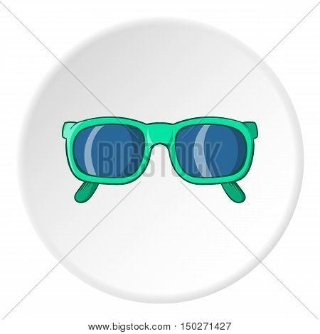 Glasses icon in cartoon style isolated on white circle background. Accessory symbol vector illustration
