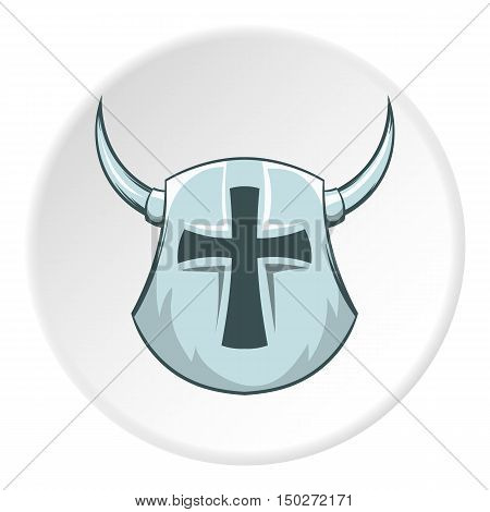 Combat helmet with cross and horns icon in cartoon style isolated on white circle background. Medieval warriors outfit symbol vector illustration