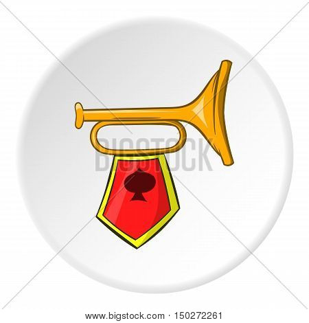 Trumpet with flag icon in cartoon style isolated on white circle background. Sound symbol vector illustration
