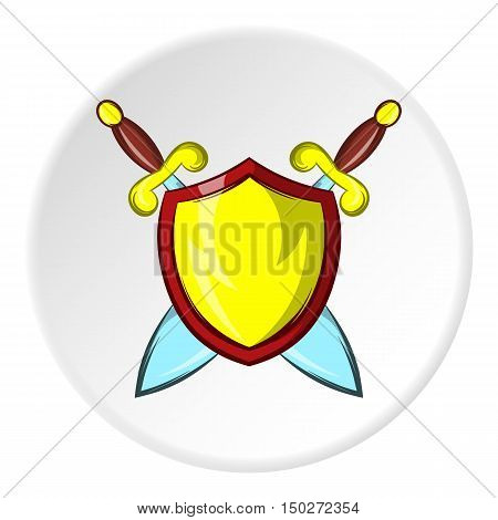 Battle shield with swords icon in cartoon style isolated on white circle background. Protection symbol vector illustration