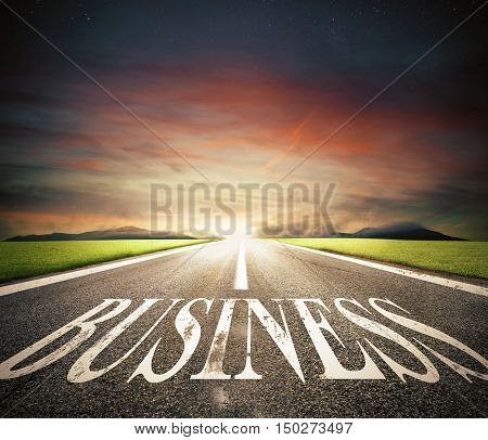Concept of start straight for business as a road