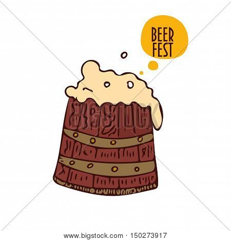barrel of beer with beer foam in a cartoon style for beer fest