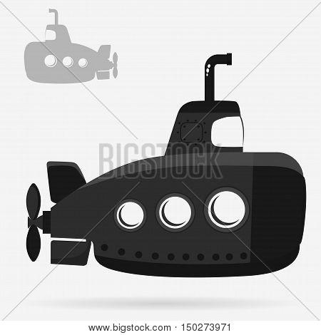Yellow Submarine with periscope, bathyscaphe cartoon, underwater ship Flat design. Vector