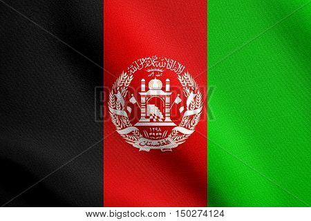 Afghan national official flag. Patriotic symbol banner element background. Accurate dimensions. Correct size colors. Flag of Afghanistan waving in the wind with detailed fabric texture, 3d illustration