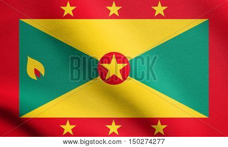 Grenadian national official flag. Patriotic symbol banner element background. Accurate dimensions. Correct size colors. Flag of Grenada waving in the wind with detailed fabric texture, 3d illustration