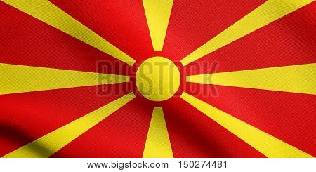Macedonian national official flag. Patriotic symbol banner element background. Accurate dimensions. Correct size colors. Flag of Macedonia waving in the wind with detailed fabric texture, 3d illustration