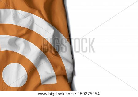 Rss Icon Wrinkled Flag, Space For Text