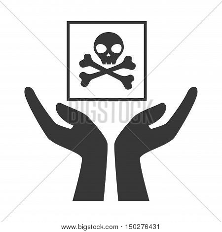 hands with danger skull package icon silhouette. vector illustration