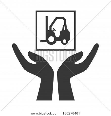 hands with forklift package icon silhouette. vector illustration