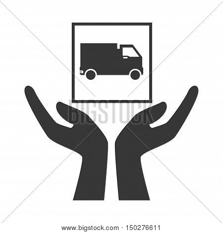 hands with cargo truck package icon silhouette. vector illustration