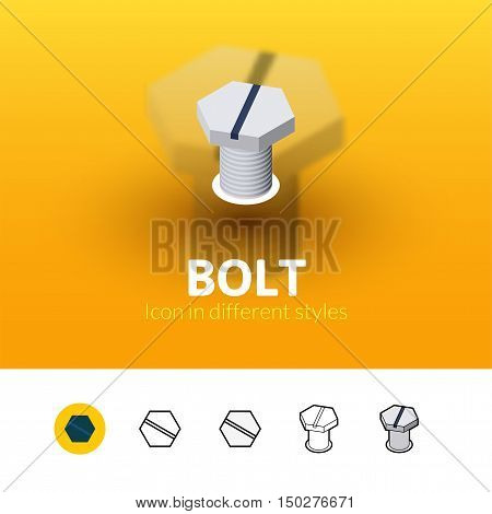 Bolt color icon, vector symbol in flat, outline and isometric style isolated on blur background