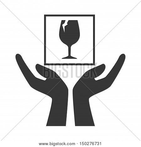 hands with fragile  package icon silhouette. vector illustration