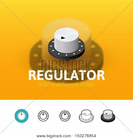 Regulator color icon, vector symbol in flat, outline and isometric style isolated on blur background