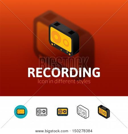 Recording color icon, vector symbol in flat, outline and isometric style isolated on blur background