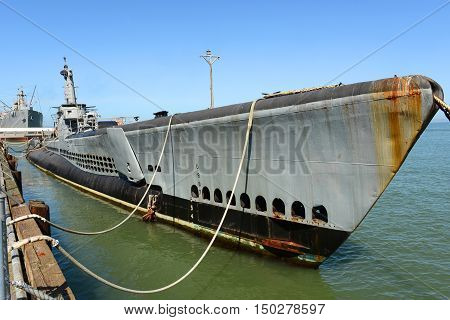 USS Pampanito (SS-383) is a World War II submarine, located at San Francisco Maritime National Park in Fisherman's Wharf, San Francisco, California, USA.