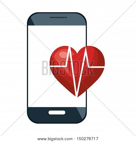 smartphone device and cardio pulse red heart. vector illustration