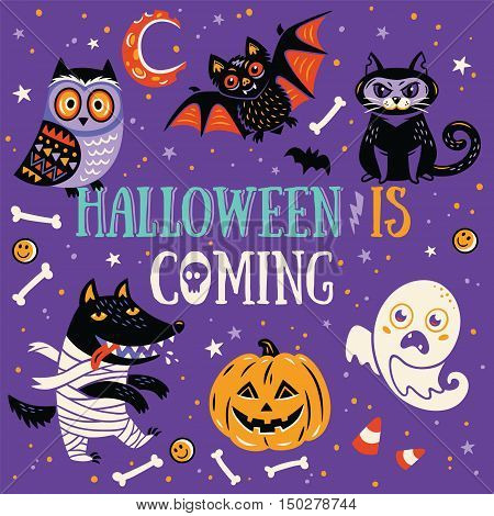 Fun Halloween Poster or Greeting card with cartoon wolf, owl, mummy, ghost, bat and cat. Purple background.