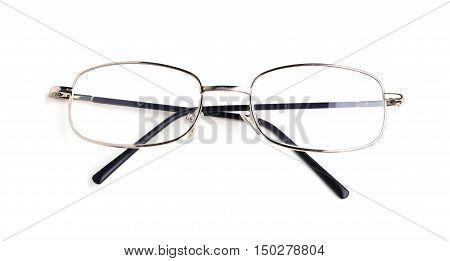 One eye glasses isolated on white background