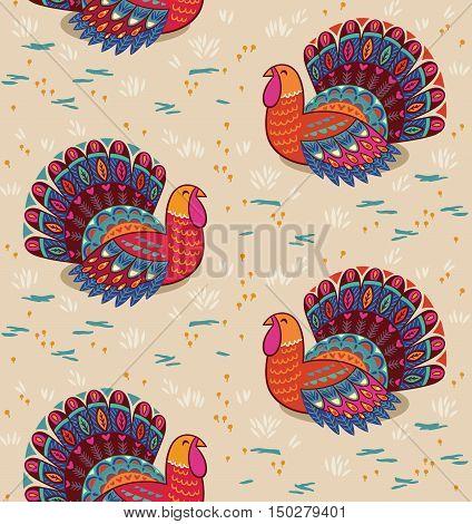 Birds seamless pattern, turkey on beige background. Symbol of Thanksgiving