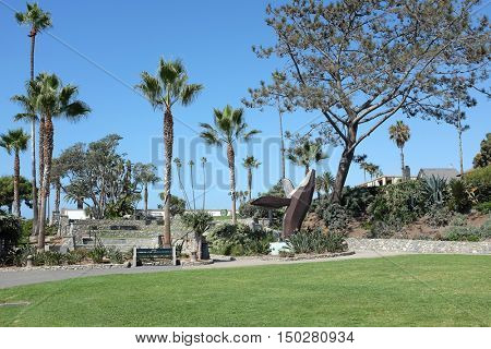 LAGUNA BEACH, CALIFORNIA - OCTOBER 3, 2016: Heisler Park. Stretching along the bluffs this oceanfront park has walking trails, gardens, a marine refuge, picnic tables and barbeques.