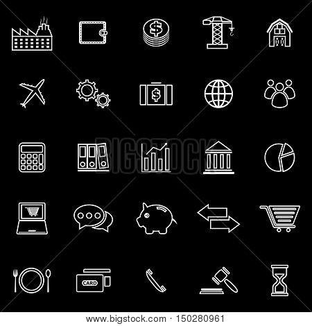 Economy line icons on black background, stock vector