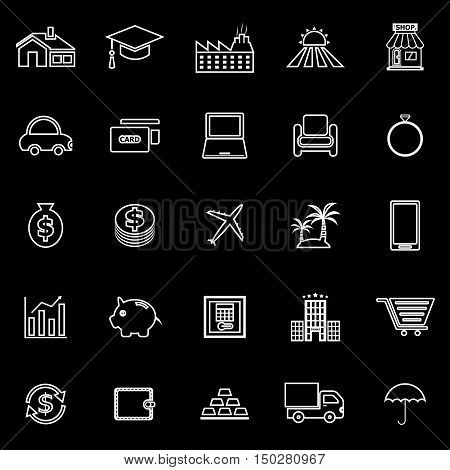 Loan line icons on black background, stock vector