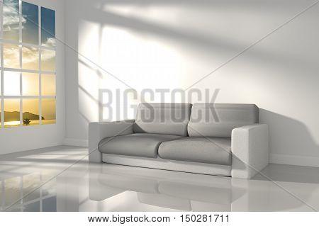 3D Rendering : illustration of interior room of minimalism white feeling with modern leather sofa furniture at the middle of room, morning or sunset light,seaview,sunset at the sea
