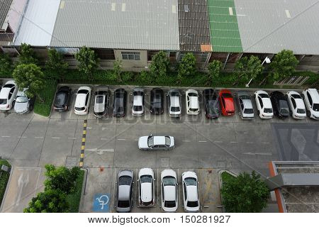 BANGKOK THAILAND- July 9: in the parking lot Top view from condominium on July 9 2016 in Bangkok Thailand.