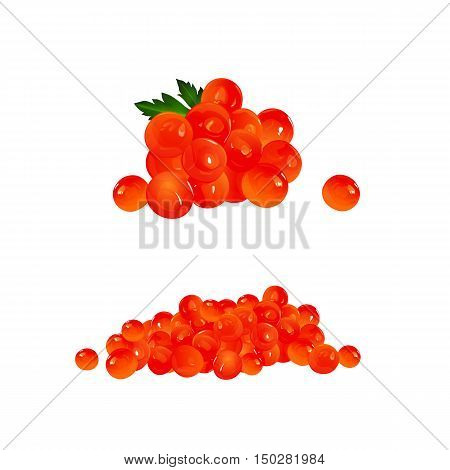 Red Caviar, isolated raster illustration on white background
