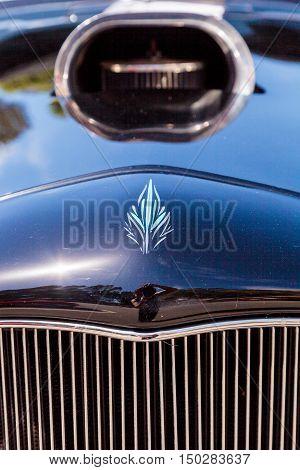 Laguna Beach, CA, USA - October 2, 2016: Black 1932 Ford B Roadster displayed at the Rotary Club of Laguna Beach 2016 Classic Car Show. Editorial use.