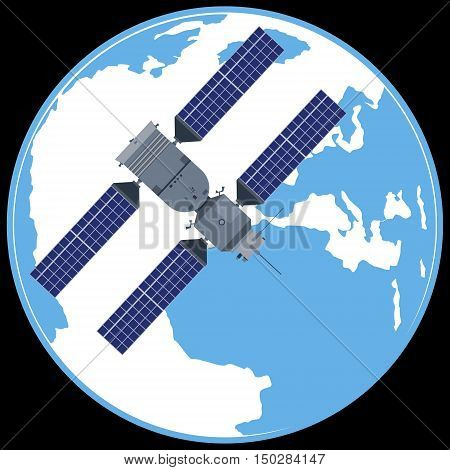 Space satellite on a background of the planet Earth. The illustration on a black background.