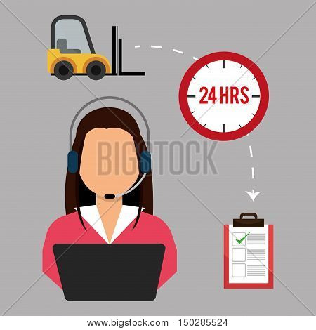 avatar woman support with headset and fast delivery icon set. colorful design. vector illustration