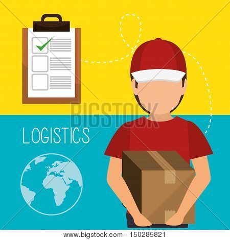avatar man with fast delivery logistics  icon set. colorful design. vector illustration