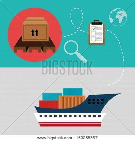 big ship cargo with container and fast delivery logistic icon set. colorful design. vector illustration