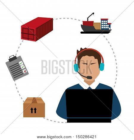 avatar support man with headset. logistic fast delivery icon set. colorful design. vector illustration