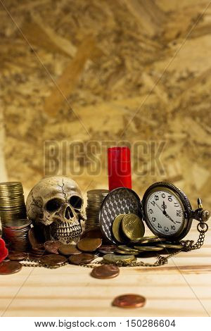 Staircase Of Money, Thai Coins Of One Bath On Wood And Element Antique Clock,skull ,shotgun Shell Ba