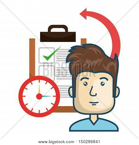 avatar man smiling with checklist report and clock. fast delivery theme. vector illustration