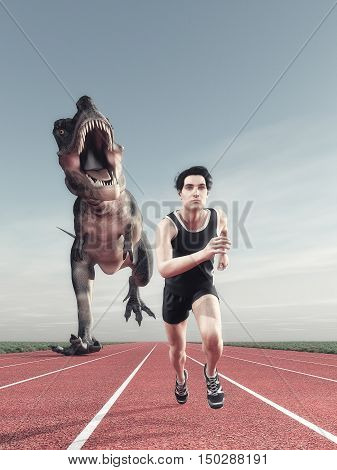 An athlete and a dinosaur running on a running track. This is a 3d render illustration