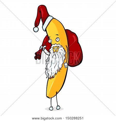 Vector Cartoon Christmas Character - Santa Banana