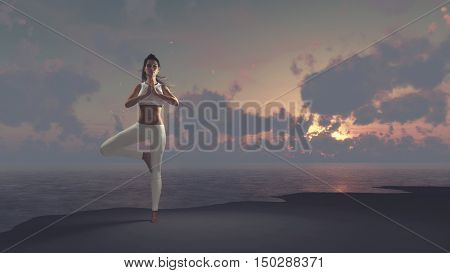 Young woman practicing yoga on the sea beach at sunset. Slim woman doing gymnastics over morning sun. This is a 3d render illustration