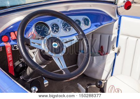 Laguna Beach, CA, USA - October 2, 2016: Blue 1929 Ford A-V8 convertible owned by Richard Strollo and displayed at the Rotary Club of Laguna Beach 2016 Classic Car Show. Editorial use.