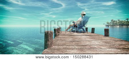 Man sitting in a chair on a pontoon and admiring the ocean enjoy the tropical island . This is a 3d render illustration