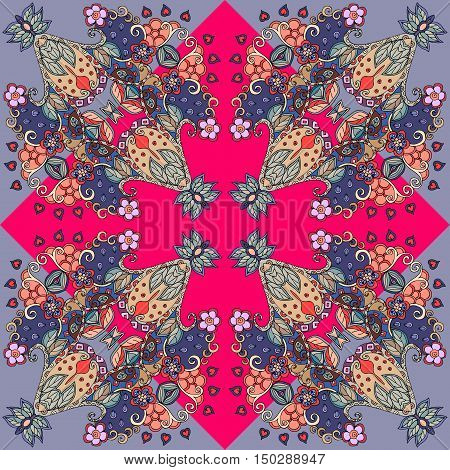 Decorative floral ornament. Bandana print or kerchief design. Lovely tablecloth. Vector illustration.