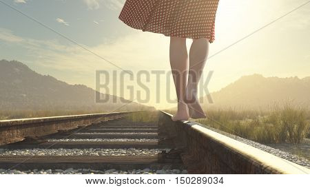 A walking barefoot girl on the railway. This is a 3d render illustration